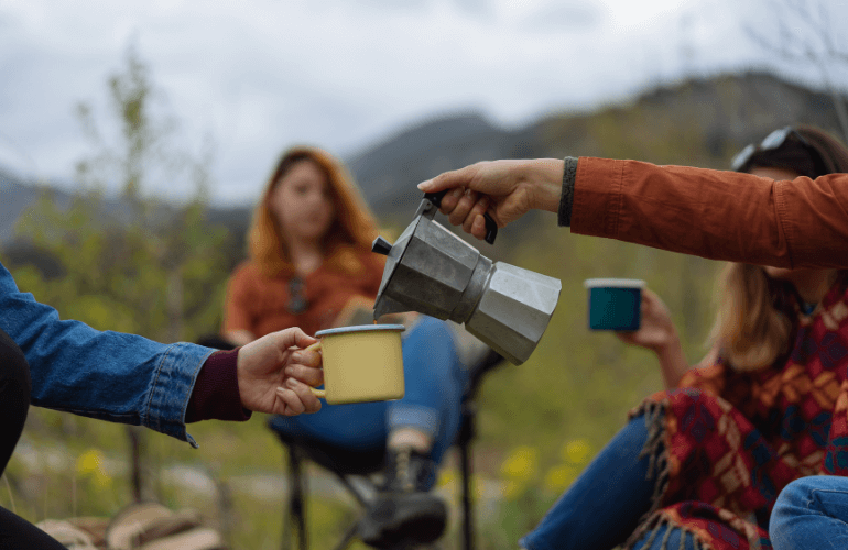 Camping and coffee